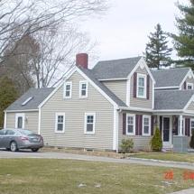 large house siding, windows, big windows, doors, back of house attachment