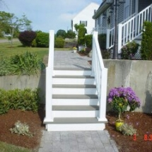 steps with walls and stone walkway