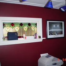 Office room with stained glass windows